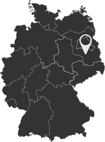 a dark map of Germany with the company location of the my Assembly team south of Berlin